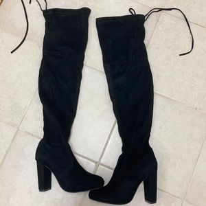 PrettyLittleThing faux suede over the knee boots